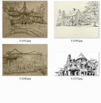 细节丰富的建筑手绘透视图