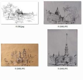 细节丰富的欧式建筑手绘效果图