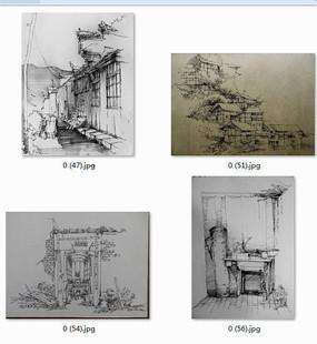中式小镇建筑景观手绘透视图黑白线稿 下载收藏 欧式小镇建筑景观手绘
