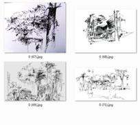 中式小镇建筑景观手绘效果图