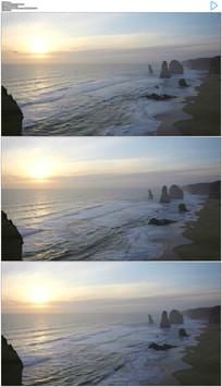 4K大海浪花和夕阳日落实拍视频素材