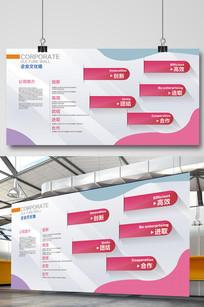 扁平化简洁企业文化墙展板