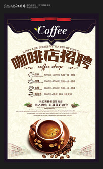 创意咖啡店招聘海报