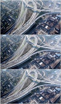 航拍高架桥交通视频