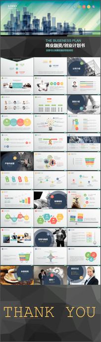 绿色城市剪影创业计划商业融资计划书PPT模板