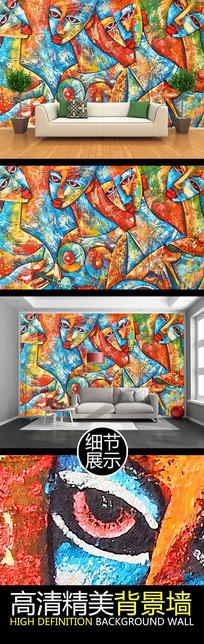 手绘艺术人物油画电视背景墙