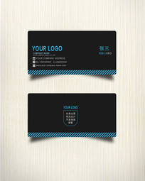 黑蓝色商务名片设计模板