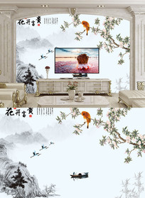 花开富贵彩雕兰花电视墙