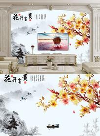 花开富贵兰花彩雕背景墙