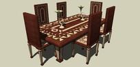 几何花纹木制餐桌