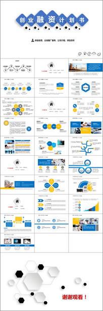蓝色加黄色创业融资计划书PPT