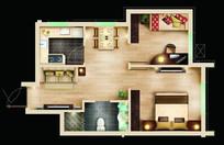 两室两厅户型设计平面图 PSD