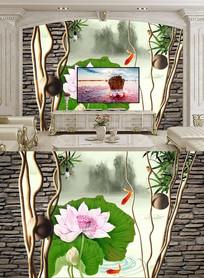 中式荷花电视背景墙
