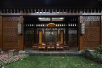 中式木质建筑立面