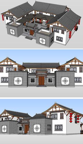 川东巴渝民居建筑草图模型