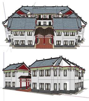 川西民居风格游客中心建筑模型
