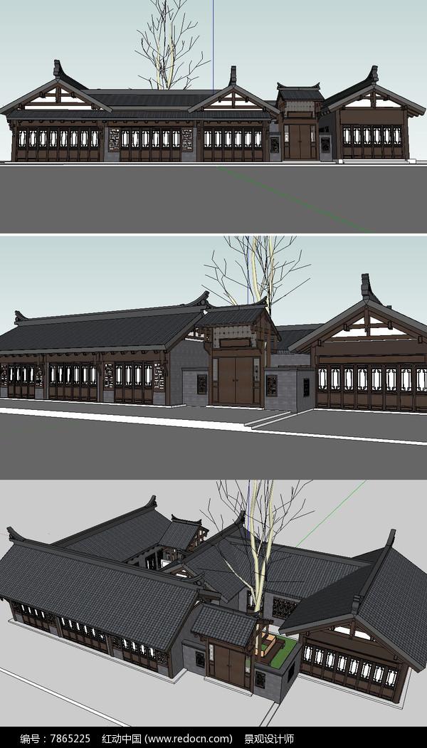 川西民居建筑永平坊肆号院草图模型图片