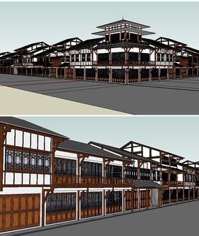 川西民居商业建筑草图模型