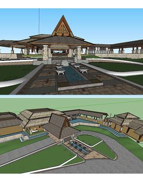 东南亚风格温泉景观草图大师模型
