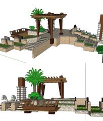 东南亚温泉景观小品SU模型