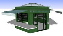 多边形小卖铺餐饮售货亭 skp