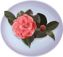 粉色的矢量花朵插画