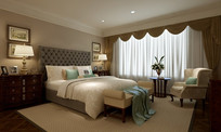 高级宾馆单人间卧室效果图