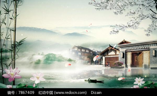 中国党徽江南高清风LED视频水乡mp4素材下载水墨视频图片