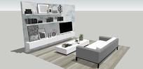 客厅沙发电视墙模型
