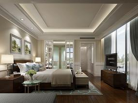 宽敞现代简约卧室效果图 JPG