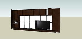 软包木质电视背景墙的SU模型