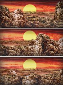 陕北民歌中国风彩绘山头太阳视频