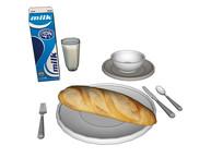 西式餐点面包牛奶SU模型