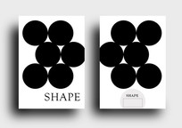 圆形几何概念黑白简约笔记本封面