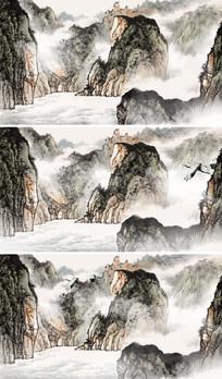 中国风国画山水丹顶鹤LED晚会视频