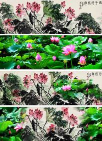 中国风水墨荷花西子荷风类LED视频