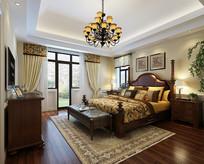 中式复古沉稳卧室效果图