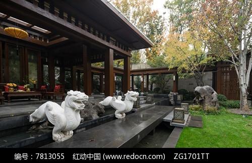 中式连廊庭院景观图片