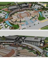 温泉广场新中式景观草图模型