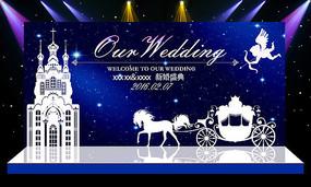 大气梦幻唯美教堂婚礼婚庆舞台背景设计 PSD