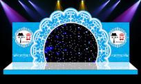 花环唯美大气蓝色舞台婚礼婚庆迎宾区背景 PSD