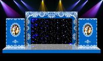 浪漫蓝色主题婚礼舞台迎宾区背景设计 PSD