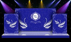 蓝色大气婚礼婚庆迎宾区舞台背景设计 PSD