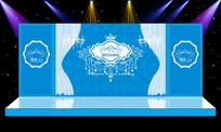 蓝色梦幻唯美婚礼婚庆舞台背景设计 PSD