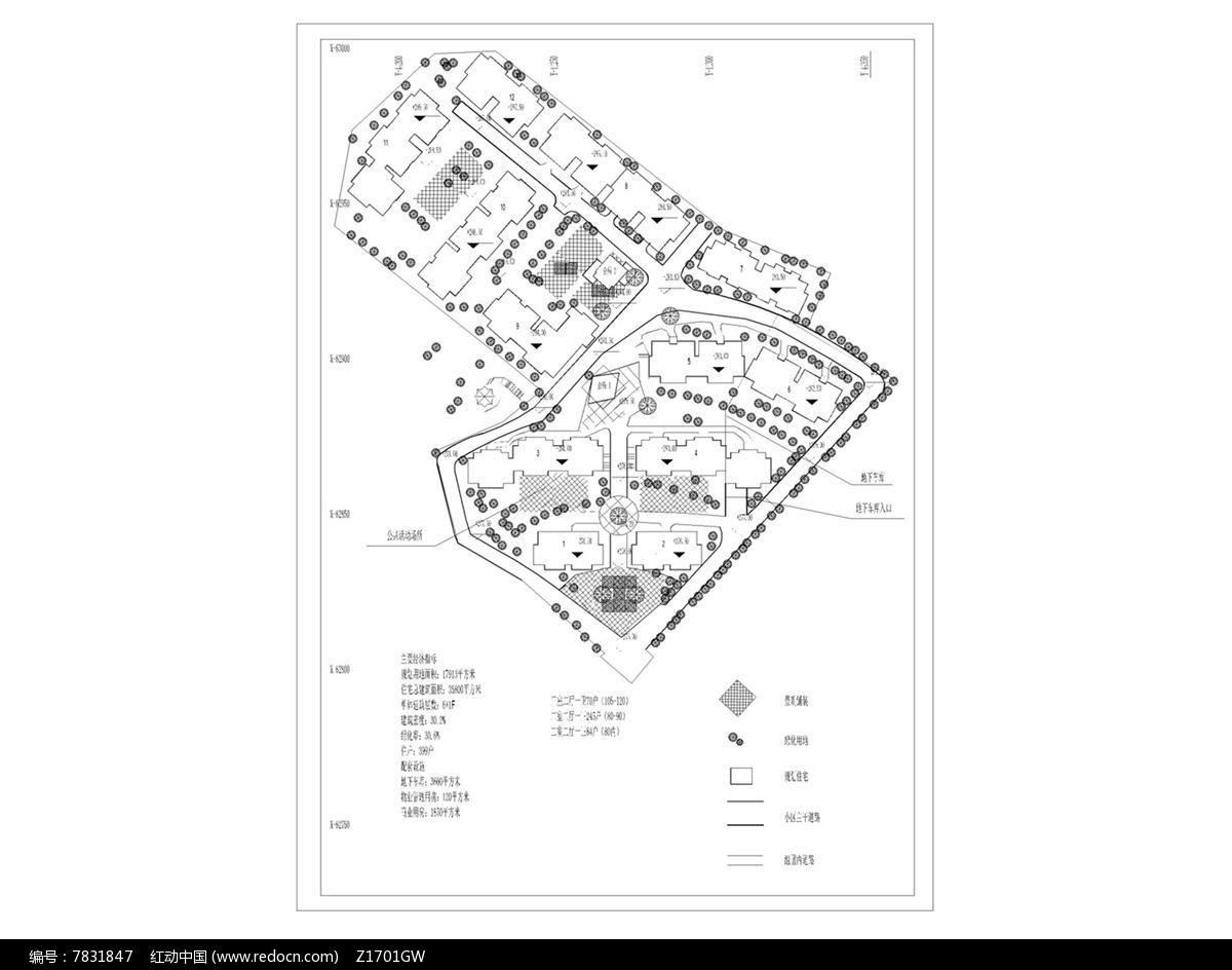 某小区平面v小区植物dwg素材下载_CAD总平设大连大港建筑设计公司招聘图片