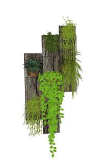 墙面植物绿化SU组景