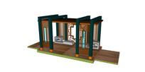 中式木质休息亭子廊架