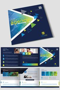 蓝色正方形企业三折页设计模板PSD下载