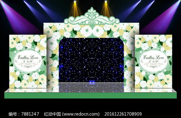 唯美大气炫丽的婚礼婚庆迎宾区舞台背景设计图片