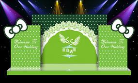 唯美绿色主题婚礼婚庆舞台迎宾区背景